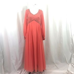 Vintage 60s Mike Bennet Crepe Coral Beaded Gown L
